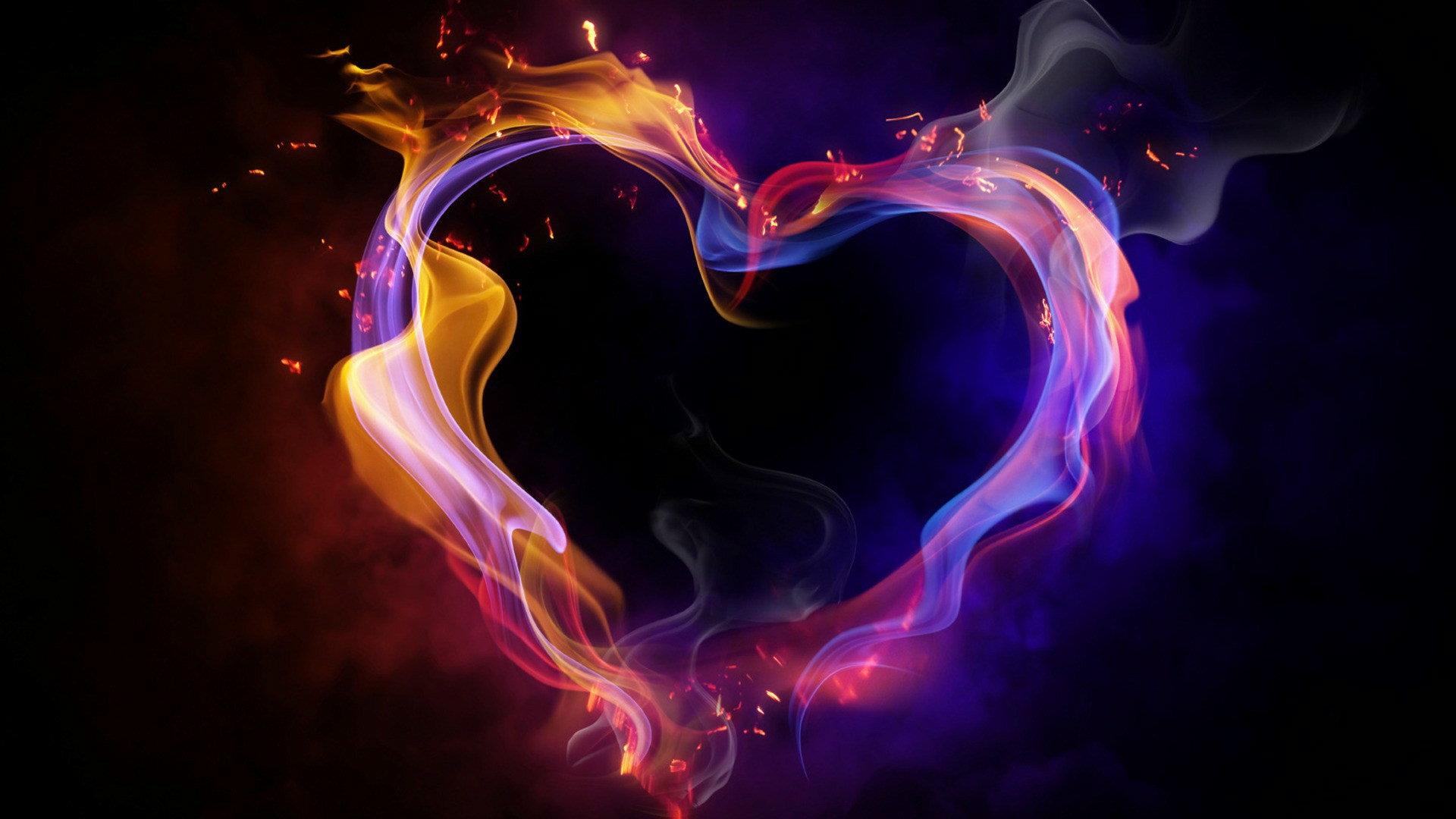 Ein flammendes Herz als Dekoelement der Website von Wild@Heart